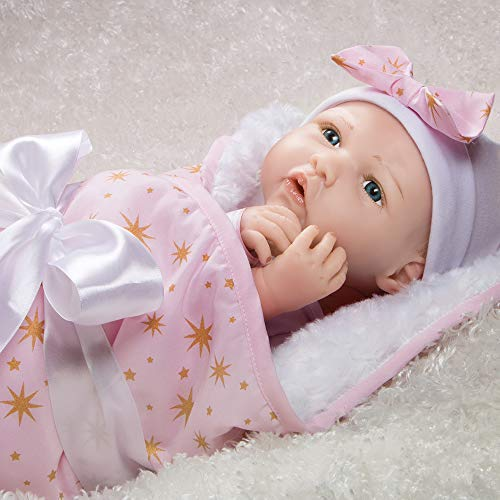 7-Piece Ensemble Paradise Galleries Reborn Baby Doll in Silicone Vinyl Born to Sparkle 19 inch Newborn Girl Baby Bundles