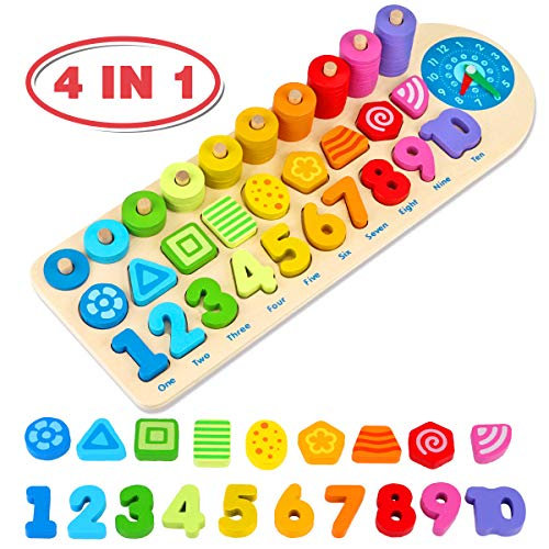 Aitbay Wooden Number Puzzles Montessori Toys for Toddlers, Shape Sorting Math Counting Color Wood Stacking Blocks…