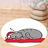 VROSELV Custom carpetChristmas Decorations Collection Sleeping Cat with Santa Hat and Whiskers on Pillow Winter Night Cartoon Art Bedroom Living Room Dorm White Red Grey Round 72 inches