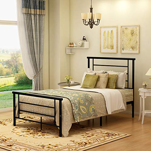 Metal Bed Frame Platform with Headboard and Footboard Mattress Foundation Box Spring Replacement for Kids Adult (Twin,Black)