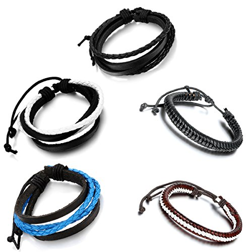 Aroncent 5PCS Handmade Vintage Wristband, Leather Rope Bracelet, Tribal Braided Cuff Bangle, Charms, Adjustable Size, Unisex