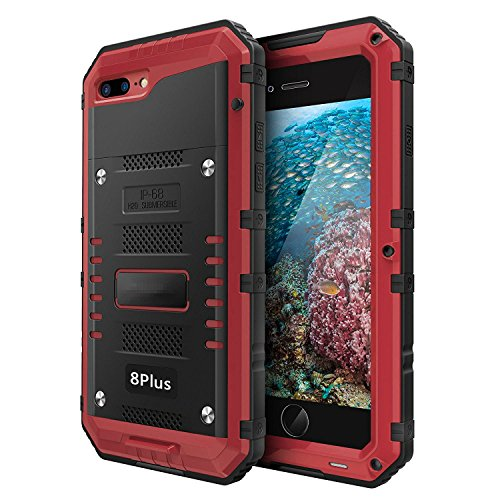 iPhone 8 Plus / 7 Plus Waterproof Case Heavy Duty with Built-in Screen Full Body Protective Shockproof Drop Proof Hybrid Hard Cover Military Outdoor Sport for Apple iPhone 8 Plus / 7 Plus (Red)