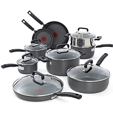 T-fal C770SF Signature Hard Anodized Scratch Resistant PFOA Free Nonstick Thermo-Spot Heat Indicator Cookware Set, 15-Piece, Gray