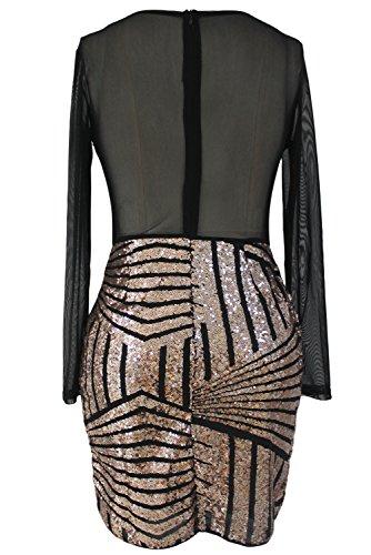 Nuevas señoras negro y dorado con lentejuelas mini vestido club wear tarde fiesta vestidos tamaño L UK 12UE 40