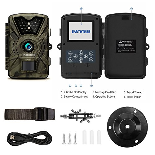 Earthtree Trail Game Camera FHD 1080P Deer Hunting Camera with 940nm IR LEDs05s Trigger SpeedUp to 65ft Trigger Distance24 inch LCD ScreenIP66 Water Resistance for Game Home Security Game Trail Cameras