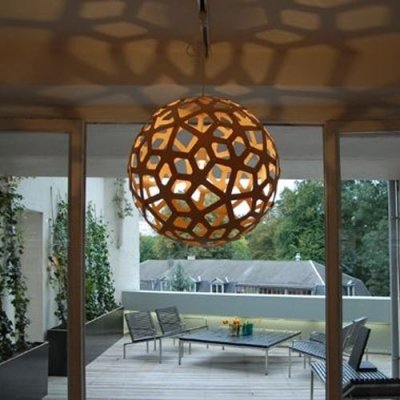 Novelty Wood Globe Shaped Designer Large Pendant Lighting