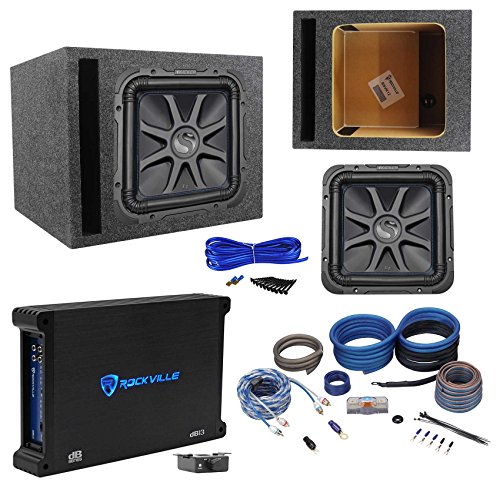 "Kicker L7S124 12"" Solobaric L7S Car Sub+Vented Enclosure+750W Amplifier+Amp Kit"