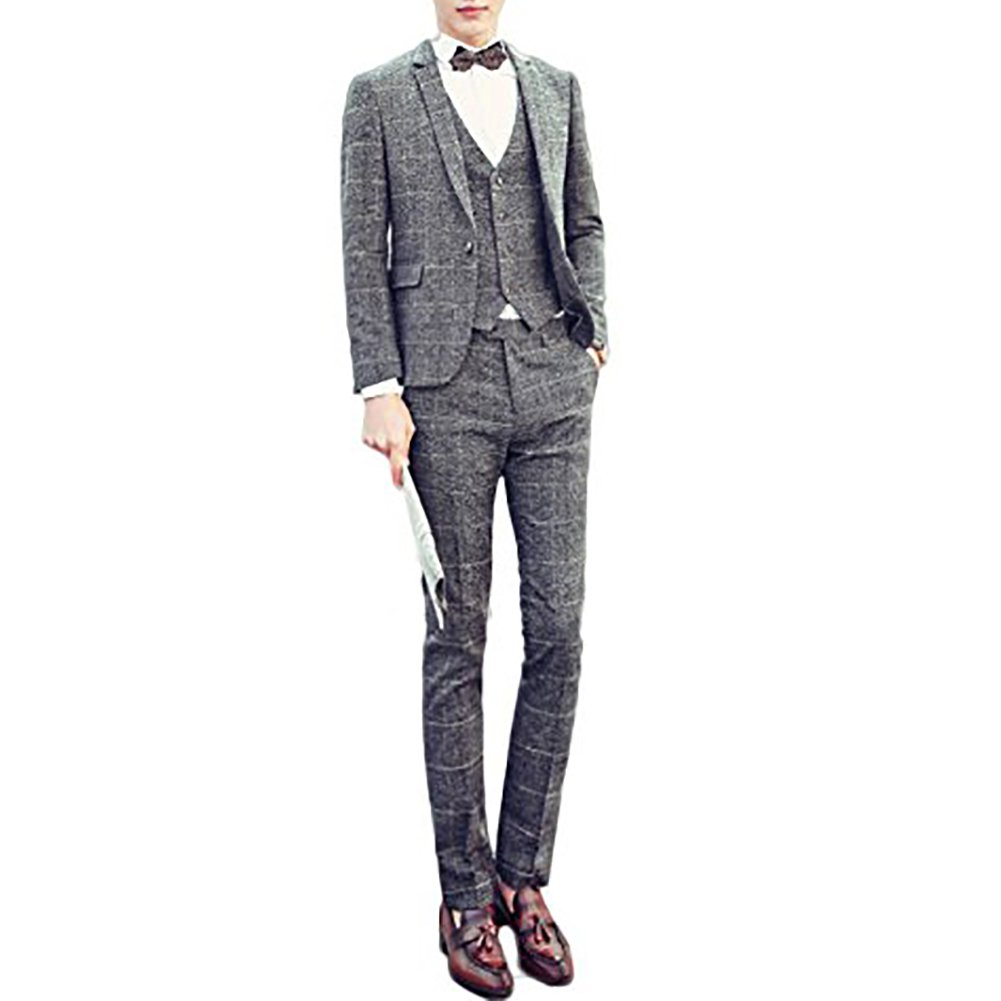 CEEN メンズ スーツ3点セット ビジネススーツ お洒落 スリム シングル一つボタン スタイリッシュ スリーピーススーツ ベスト付き チェック柄 秋 冬 B01CL415YW 54|101グレー 101グレー 54