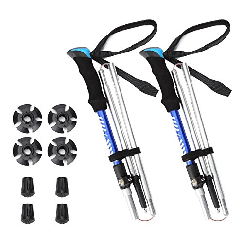 Himal 2 PCS Folding Hiking Walking Stick Hiking Poles With Padlock System, Assemble In Seconds (Blue-1) (Stick Hiking Trekking Walking)