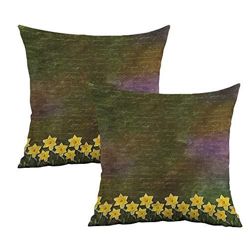 Khaki home Daffodil Square Kids Pillowcase Bridal Spring Flowers Square Standard Pillowcase Cushion Cases Pillowcases for Sofa Bedroom Car W 24