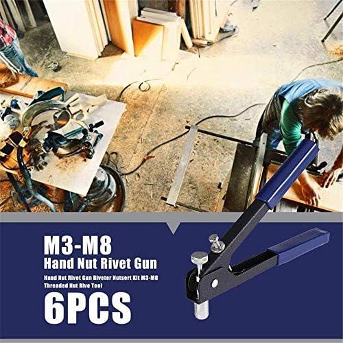 FACAIA 86Pcs Heavy Duty Blind Rivet Nut Kit Set, Riveter Nut Gun Tool Thread Hand Riveter Threaded Insert Tool with 80Pcs Metric Rivet Nuts Assortment M3 M4 M5 M6 M8