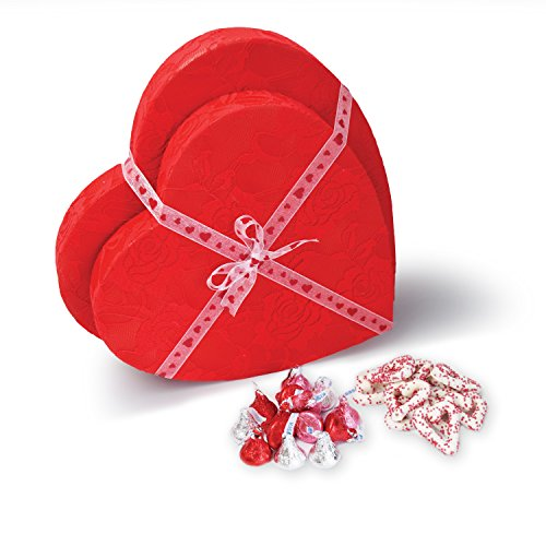 Valentine's Day Heart Shaped Gift Box Set with Hershey Kisses and Heart Chocolate Covered  ...