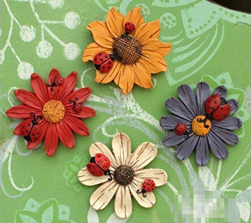 4Pcs Cute Charming 3D Fridge Magnets Art Room Wall Decor Crafts DIY (daisy)