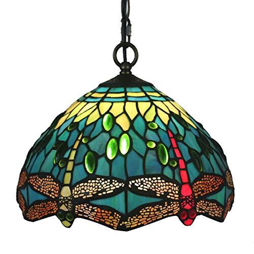 GDLight Lámpara Colgante Estilo libélula de Tiffany Luces de Techo Colgantes de vidrieras Vintage Luces Colgantes…
