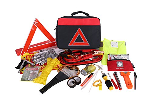 Thrive Roadside Assistance Auto Emergency Kit + First Aid Kit   Square Bag   Contains Jumper Cables, Tools, Reflective Safety Triangle And More. Ideal Winter Accessory For Your Car, Truck, Camper