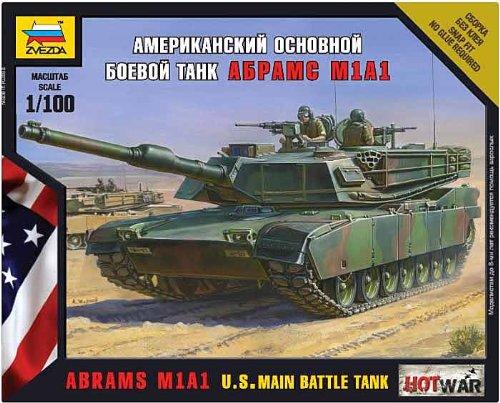 Zvezda Model Kit - Abrams M1a1 Us Main Battle Tank - 1:100 Scale - - Tank M1a1