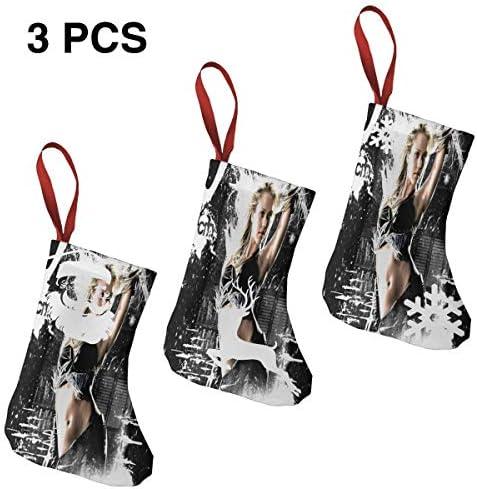 クリスマスの日の靴下 (ソックス3個)クリスマスデコレーションソックス 俳優ジェシカ アルバJessica Alba クリスマス、ハロウィン 家庭用、ショッピングモール用、お祝いの雰囲気を加える 人気を高める、販売、プロモーション、年次式