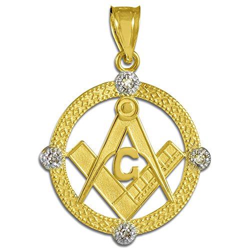 Petits Merveilles D'amour - 14 ct Or Jaune 585/1000 Rete diamant Franc Maçon Pendentif
