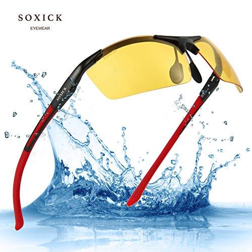 Night Driving Glasses HD Polarized Lens Retro Wayfarer Sunglasses for Men & Women (Red Frame)