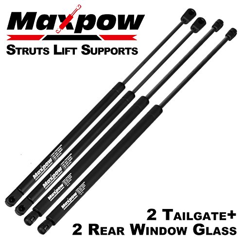 Maxpow 2 Tailgate and 2 Rear Window Glass Lift Supports Struts Compatible With 2000 2001 2002 2003 2004 2005 2006 Chevrolet Suburban Tahoe GMC 4185 (Rear Gate)