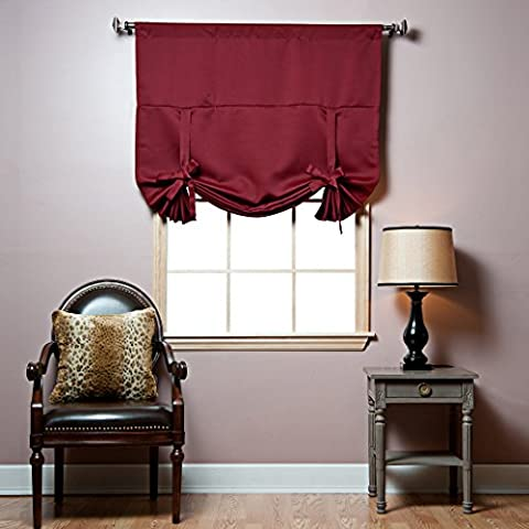 Best Home Fashion Thermal Insulated Blackout Tie-Up Window Shade - Rod Pocket - Burgundy - 42