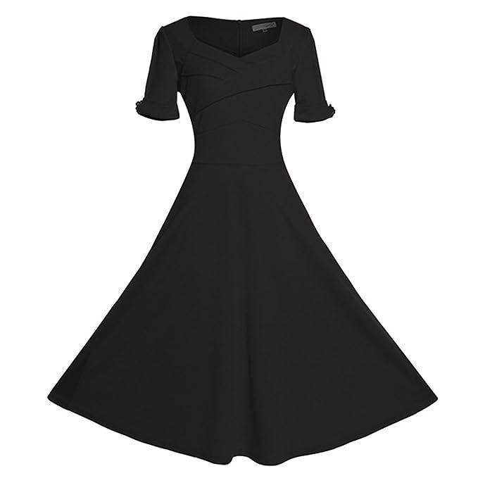 50s Vestidos Vintage Rockabilly - Mujeres Vestido de Manga Corto Elegante Negro S
