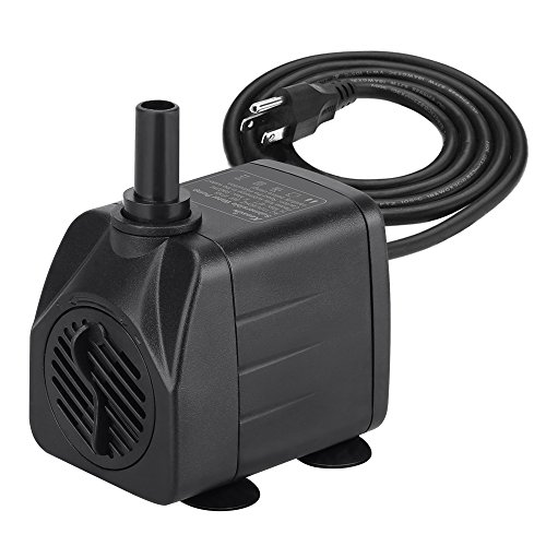 KEDSUM 100GPH Submersible Pump(450L/H, 8W), Ultra Quiet Water Pump with 4ft High Lift, Fountain Pump with 4.9 ft Grounded Power Cord, 2 Nozzles for Fish Tank , Pond , Aquarium, Statuary, Hydroponics (8w Lift)