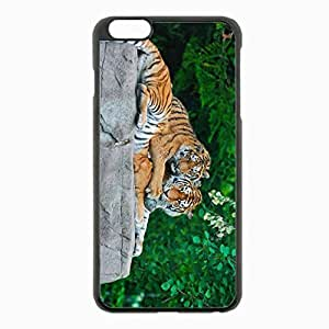 iPhone 6 Plus Black Hardshell Case 5.5inch - tigers couple grass leaves Desin Images Protector Back Cover