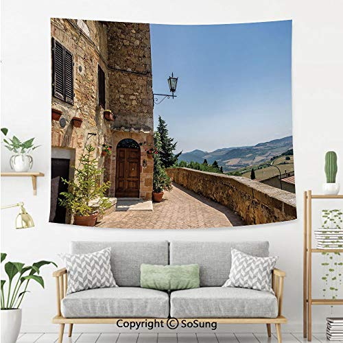 SoSung Italian Decor Wall Tapestry,The Walls of Pienza in Tuscany Historical European Landmark,Bedroom Living Room Dorm Wall Hanging,80X60 Inches,Light Brown Green Light Blue