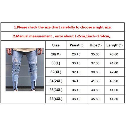 Skinny Denim 28 Uomo Slim Jeans Elastico Confortevole Fit 5 Juleya Distrutti Fori Bianca Stretch Colori 38 nqEwYxOg