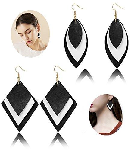 Leather Dangle (Finrezio 2 Pairs Multi-layer Faux Leather Earrings for Women Girls Diamond&Oval Shape Dangle Earrings Set (A: Black & White))