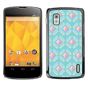 Polígono lindo Patrón Gema Rosa Azul- Metal de aluminio y de plástico duro Caja del teléfono - Negro - LG Nexus 4 E960