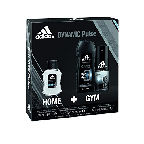 adidas Dynamic Pulse 3pc Set - 8.4 oz Body Wash, 1.7 oz Eau De Toillette, 4.0 oz Body (Adidas Set Edt Spray)