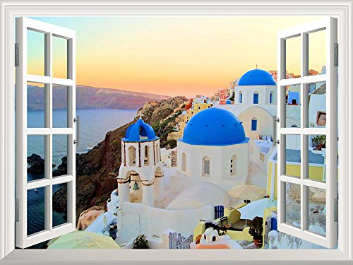 Wall26 Removable Wall Sticker / Wall Mural – Sunset View of the Blue Dome Churches of Santorini, Greece | Creative Window View Home Decor / Wall Decor – 36″x48″