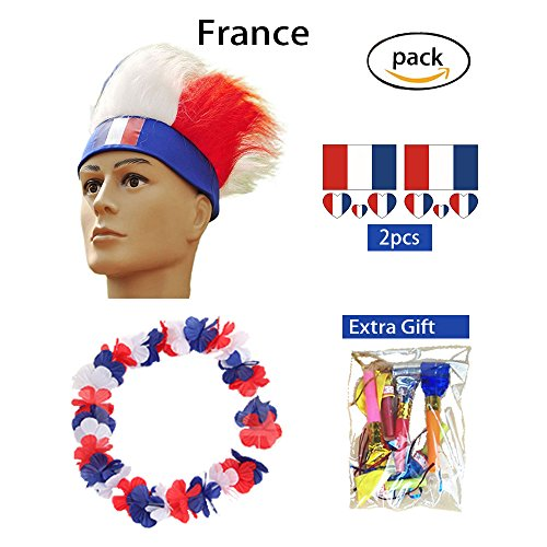 AmorL&C Hair Wigs 2018 World Cup Football Soccer Fans Wig Equiment Kits Party Halloween Wig Cosplay Costume Color Wigs Sport Flag Headband (France)