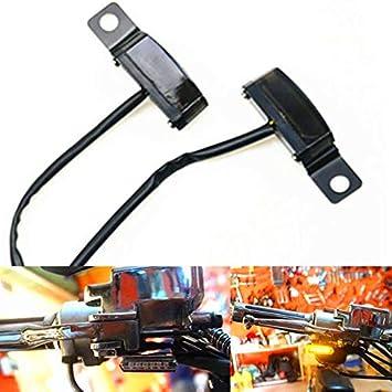 Motorrad 8mm Bremskupplungshebel Spiegel Bolzenhalterung Led Fließende Blinker Mini Blinker Licht Für Cafe Racer Cruiser Custom Schwarz Auto