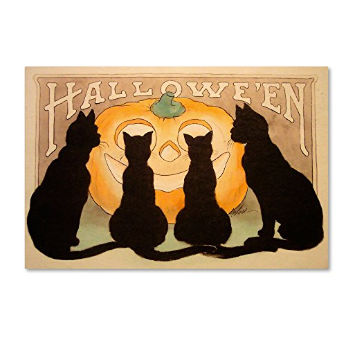 Halloween Black Cats Pumpkin by Vintage Apple Collection, 30x47-Inch