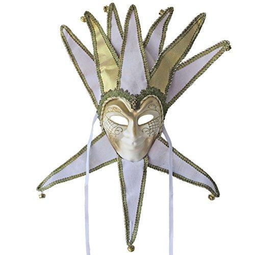 [Full Face Venetian Jester Masquerade Decorative Wall Mask Mardi Gras (White)] (White Mardi Gras Mask)