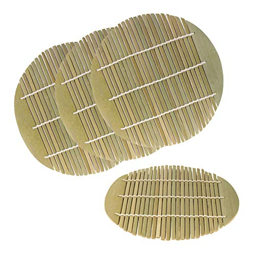 6.5 Inch Dia Green Bamboo Steamer liners Kitchen Mat Rack Steamer Pad Inserts, 4 Pieces (Oriental Steamer Bamboo)