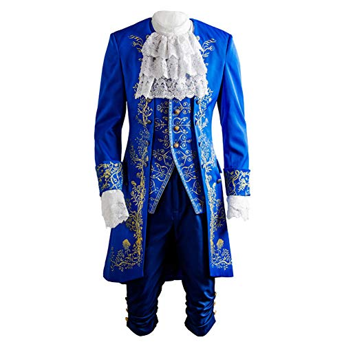 SIDNOR Beauty and The Beast Prince Dan Stevens Blue Uniform Cosplay Costume Outfit Suit -