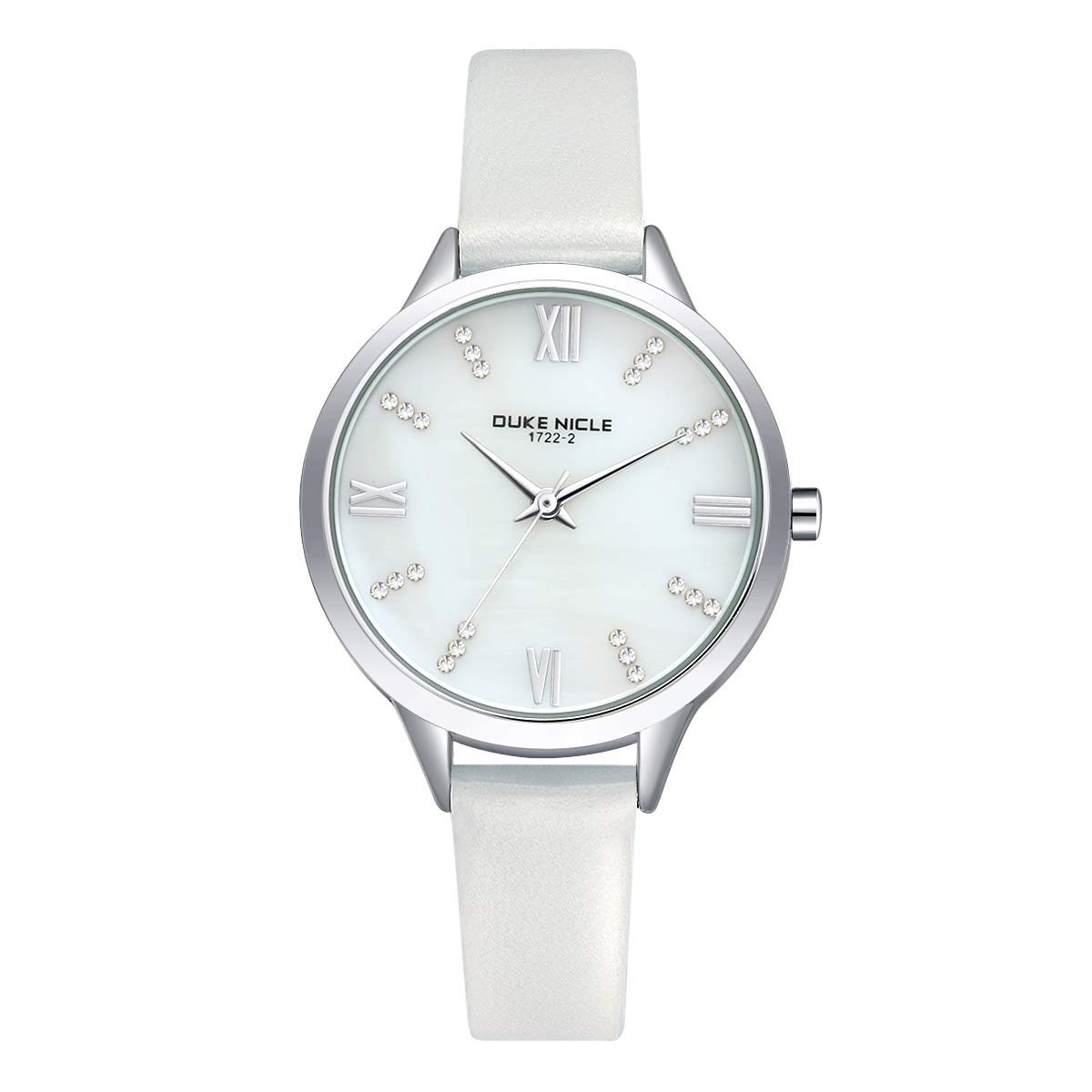 Ladies Watches, Womens Fashion Casual Waterproof Mother-of Pearl Dial Wrist Watches for Girls Genuine Leather Band Watches (White)
