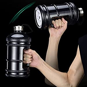 2.2 Liter Large Capacity Sports Water Bottle Hydrate Drinking Bottle Tank Jug Container Resin with Water Bottle Brush BPA Free for Bodybuilding Outdoor Sports Gym Workout Hiking & Office(Black)