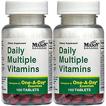 Daily Multiple Vitamins Compare To One A Day Essentials Multivitamin Multimineral Supplement 100 Tablets per Bottle Pack of 2 Total 200 Tablets