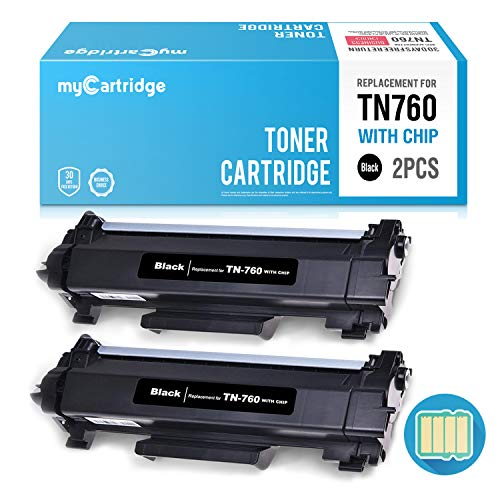 myCartridge (with CHIP) Compatible Brother TN760 TN730 High Yield Black Toner Cartridge Fit for MFC-L2710DW MFC-L2730DW MFC-L2750DW HL-L2350DW HL-L2370DW HL-L2390DW HL-L2395DW DCP-L2550DW(2 Pack)