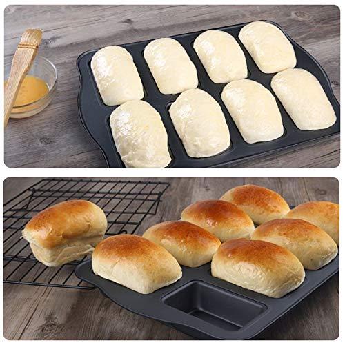 Mini Loaf Pan, Beasea 10x14 Inch Nonstick Brownie Cake Pan Bread Baking Pan 8 Cavity Brownie Pan Carbon Steel Brownie Baking Tray Bakeware for Oven Baking