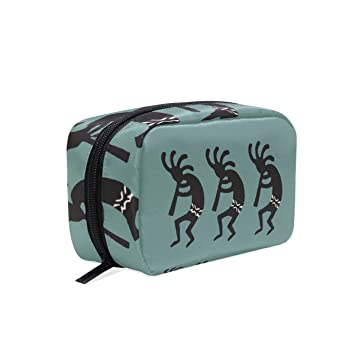 Travel Toiletry Makeup Bag Teal And Black Kokopelli Southwest Cosmetic Bags  Women s Portable Brushes Case Toiletry db1942932b
