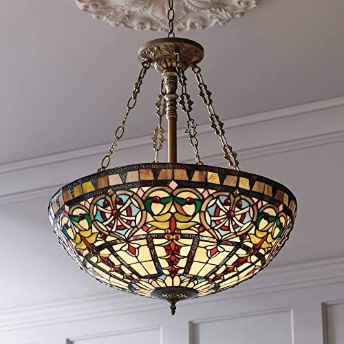 Ornamental Bronze Tiffany Style Pendant Chandelier Lighting 24″ Wide Stained Glass Bowl 4-Light Fixture