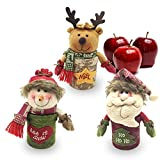 LUCKSTAR Christmas Candy Box - Christmas Decoration Candy Jar Sugar Container Apple Storage Box Candy Stroage Bottle Santa Claus Snowman Elk Candy Jar for Christmas Ornament Holiday Party (Colorful)
