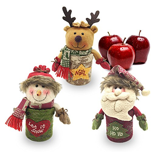 andy Box - Christmas Decoration Candy Jar Sugar Container Apple Storage Box Candy Stroage Bottle Santa Claus Snowman Elk Candy Jar for Christmas Ornament Holiday Party (Colorful) (Apple Storage Jar)