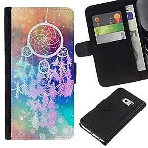 Planetar® Modelo colorido cuero carpeta tirón caso cubierta piel Holster Funda protección Para Samsung Galaxy S6 / SM-G920 EDGE ( Catcher Art Hipster Indian Colors )
